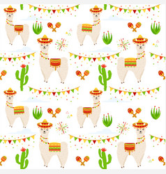 llama alpaca cactus maracas vector image