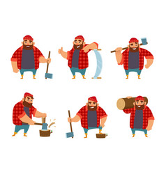 Lumberjack in different action poses funny vector