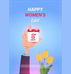 Male hand holding calender page with 8 march date vector