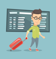 Man walking with suitcase at the airport vector