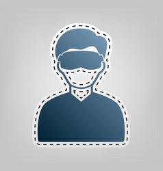 man with sleeping mask sign blue icon vector image
