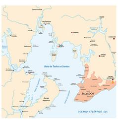 map bay all saints bahia brazil vector image