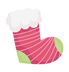 Merry christmas striped stocking decoration icon vector