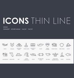 Miami thin line icons vector