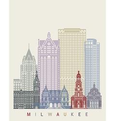 Milwaukee skyline poster vector
