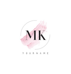 Mk m k watercolor letter logo design with vector