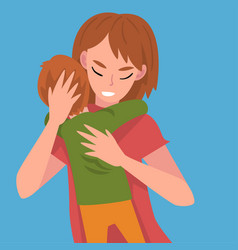 mom hugs son and rests his head on her hand vector image