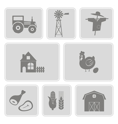 monochrome set with with farm icons vector image
