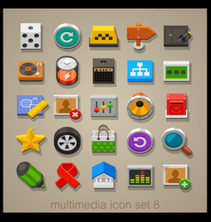 multimedia icon set-8 vector image