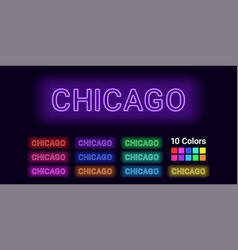 neon name of chicago city vector image