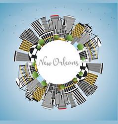 New orleans louisiana city skyline with gray vector