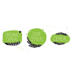 Organic cereal love cereal set symbol vector