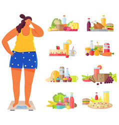 overweight girl on scales surrounded junk food vector image