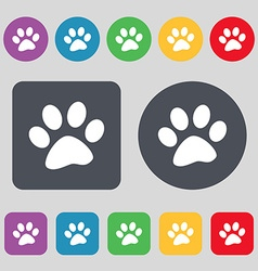 paw icon sign A set of 12 colored buttons Flat vector image