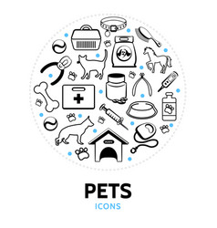 Pets line icons round concept vector