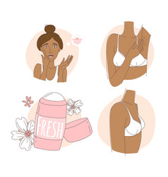 Pimples on face hair in armpits breast vector
