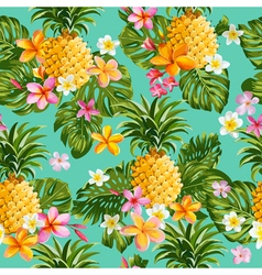 Pinapples and Tropical Flowers Background vector