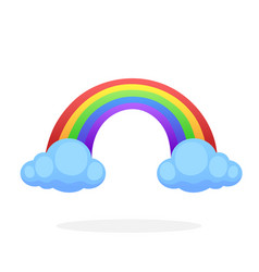 rainbow with two clouds vector image