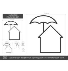 Real estate insurance line icon vector