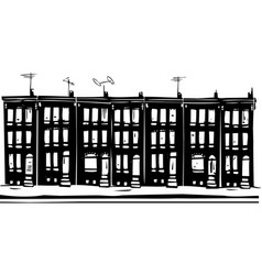 Row homes vector