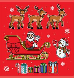 santa sleigh set with cartoon style vector image