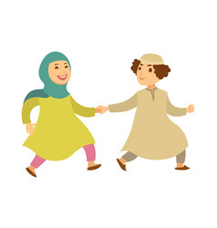 Saudi arab muslim couple or kids happy walking vector