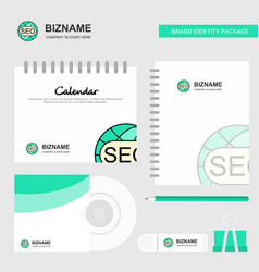 seo logo calendar template cd cover diary and usb vector image