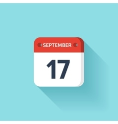 September 17 Isometric Calendar Icon With Shadow vector