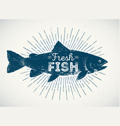 silhouette of fish in the graphic style vector image
