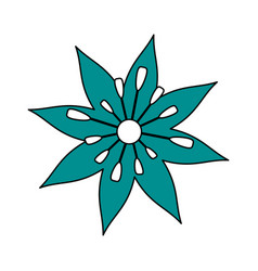 single blue flower icon image vector image