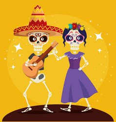 Skeleton man with guitar and dancing with catrina vector