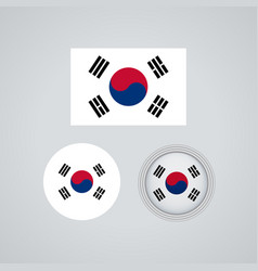 south korean trio flags vector image