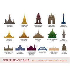 Southeast asia cities landmarks colorful vector