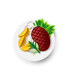 steak roast beef icon on white field vector image