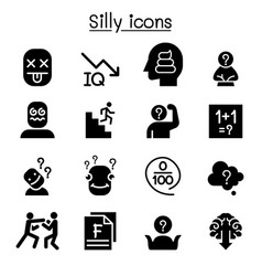 Stupid foolish silly icon set vector