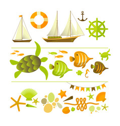summer colored icons set vector image