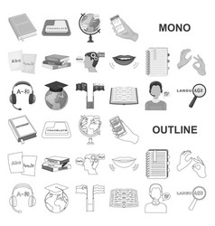 Translator and linguist monochrom icons in set vector