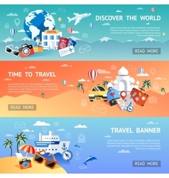 Travel Flat Banner Set vector