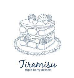 Triple berry tiramisu dessert icon cartoon vector