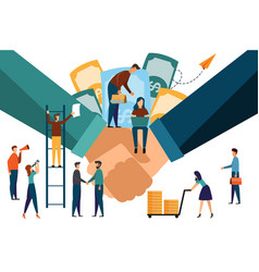 two confident business hands are shaking hands vector image
