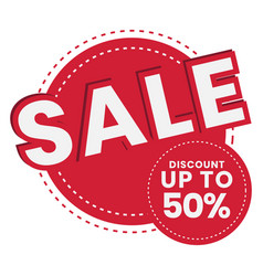 Up to 50 off sale promotion flat badge icon vector