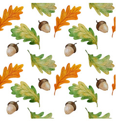 Watercolor oak leaves seamless pattern vector