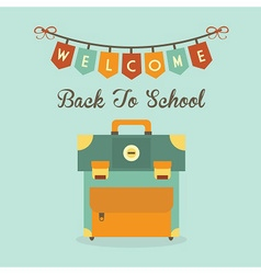 welcome back to school banner and school bag icon vector image