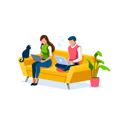 Woman works at home concept vector