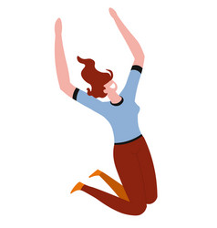 Young woman with red hair jumping with joy and vector