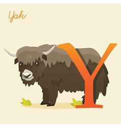 Animal alphabet with yak vector image vector image