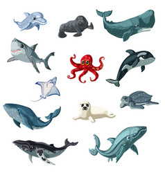 cartoon colorful underwater animals set vector image