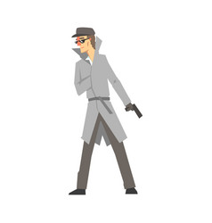 detective character with gun confident detective vector image