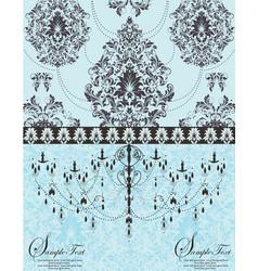 blue vintage invitation floral card vector image vector image