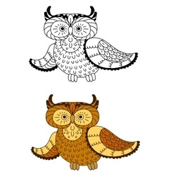 Cartoon owl with brown and yellow plumage vector image vector image